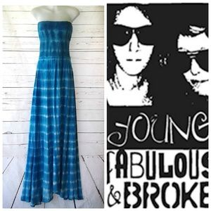 Young Fabulous & Broke Blue Strapless Maxi Dress S